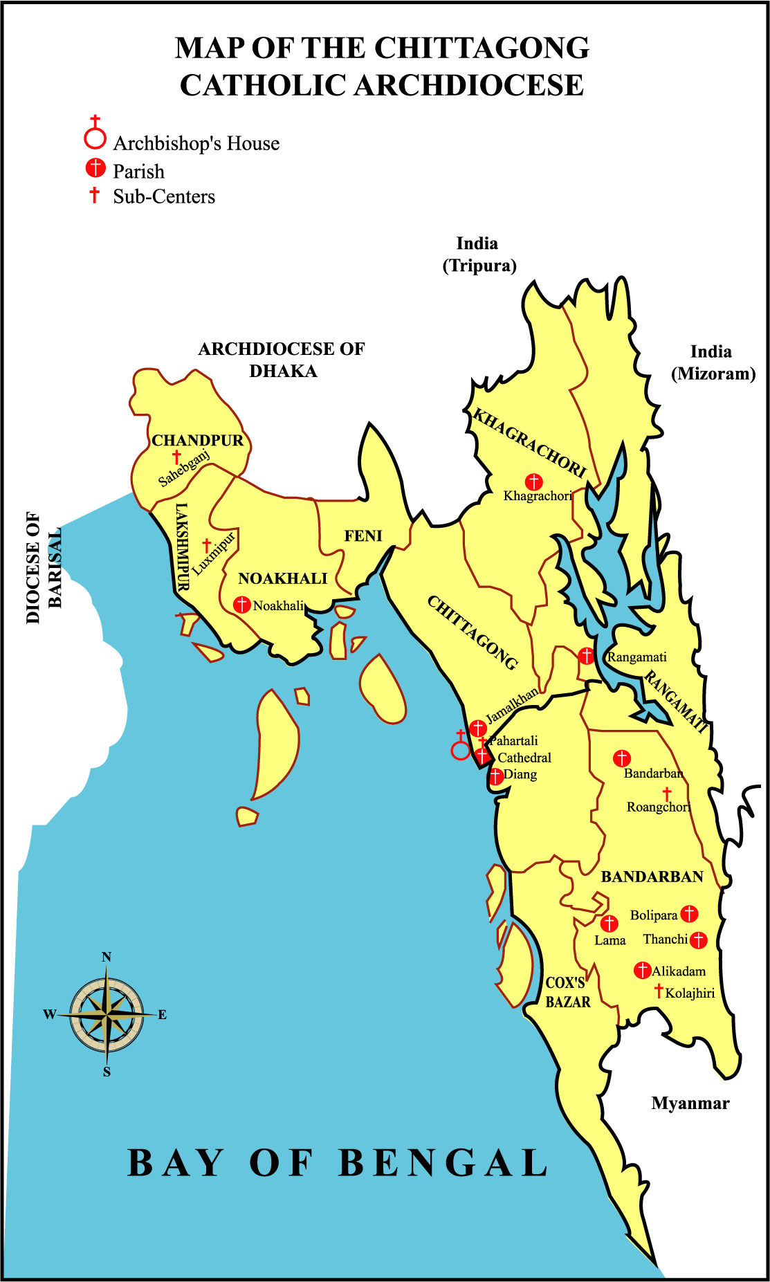 About Us The Chittagong Catholic Archdiocese - Us catholic diocese map